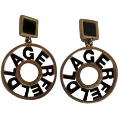 Karl Lagerfeld Black Gold Tone Earrings