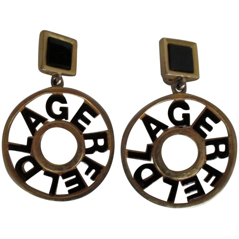 Karl Lagerfeld Black Gold Tone Earrings For Sale