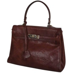 Brown Ostrich Vintage Leather Bag