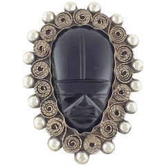 1960'S Sterling Silver & Carved Onyx Figural Mask Brooch