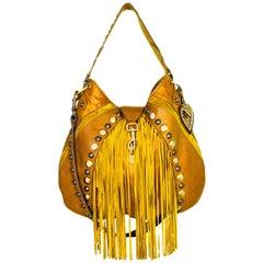 Gucci Tan Leather & Suede Babouska Satchel Bag