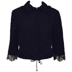 Chanel Camellia Flower Black Lace & Silk Cropped Jacket with Drawstring Tie