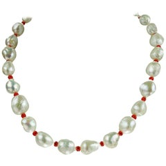 White Freshwater Pearl Necklace with Red accents