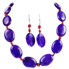 Purple Magnesite and Orange Coral Necklace and Matching Dangly Earrings
