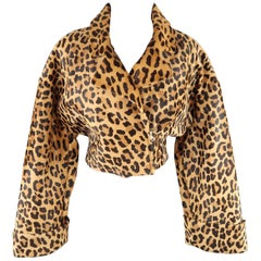 ALBERTA FERRETTI Size 8 Brown Leopard Print Calf Hair Leather Jacket