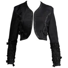 1990s Gemma Kahng Vintage Black Silk Cropped Bolero Jacket with Bow Detail