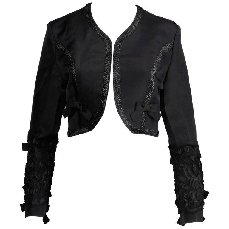 1990s Gemma Kahng Vintage Black Silk Cropped Bolero Jacket with Bow Detail