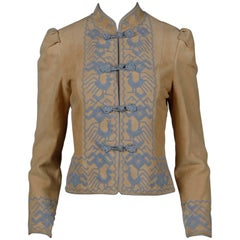 Pristine 1970s Oscar de la Renta Tan + Purple Suede Leather + Embroidery Jacket
