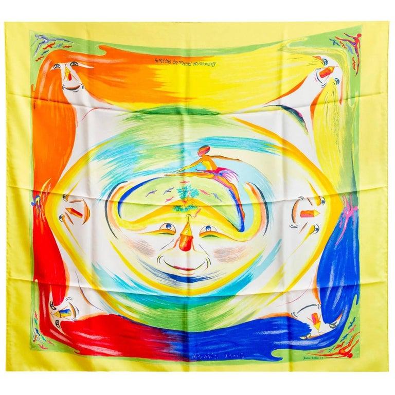 Hermes Yellow Smiles in Third Millenary Silk 90cm Scarf w/ Box