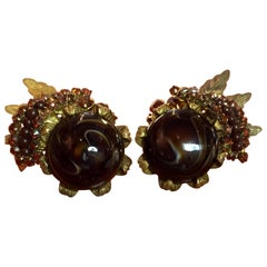 Miriam Haskell Brown and Amber Diamante Gilt Filigree Clip On Earrings