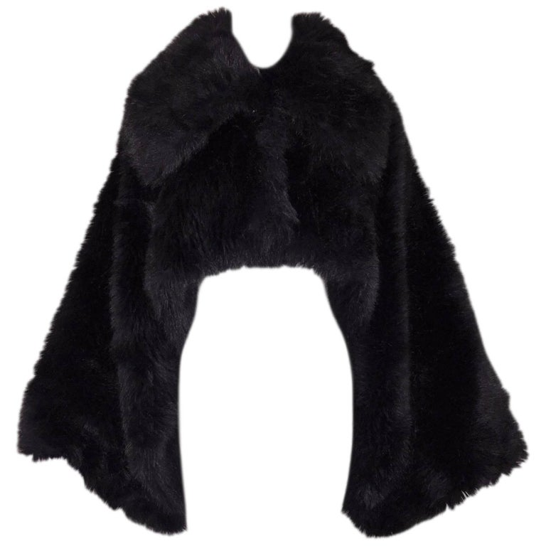 F/W 1993 Vivienne Westwood Gold Label Black Cropped Faux Fur Bolero Jacket