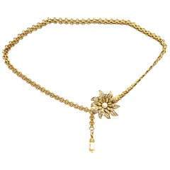 Chanel Goldtone Chainbelt with Pave Crystal Flower