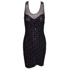 1990s Christian Dior Sheer Nylon Black Mesh Monogram Bodycon Slip Dress 36