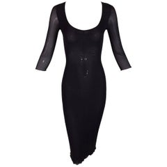 1996 Dolce & Gabbana Sheer Silk Stretch Wiggle Pin-Up Pencil Dress 38