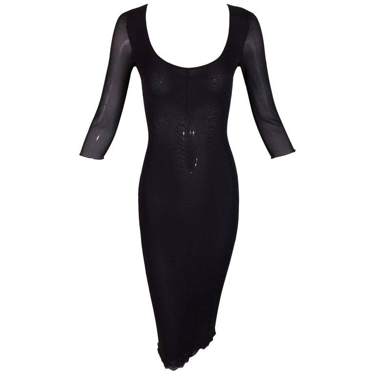 1996 Dolce & Gabbana Sheer Silk Stretch Wiggle Pin-Up Pencil Dress 38