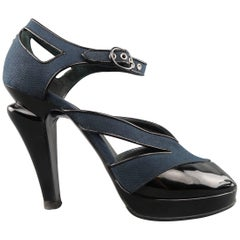 CHANEL Pumps - Size 9 Black & Blue Canvas & Patent Leather Platform Heels