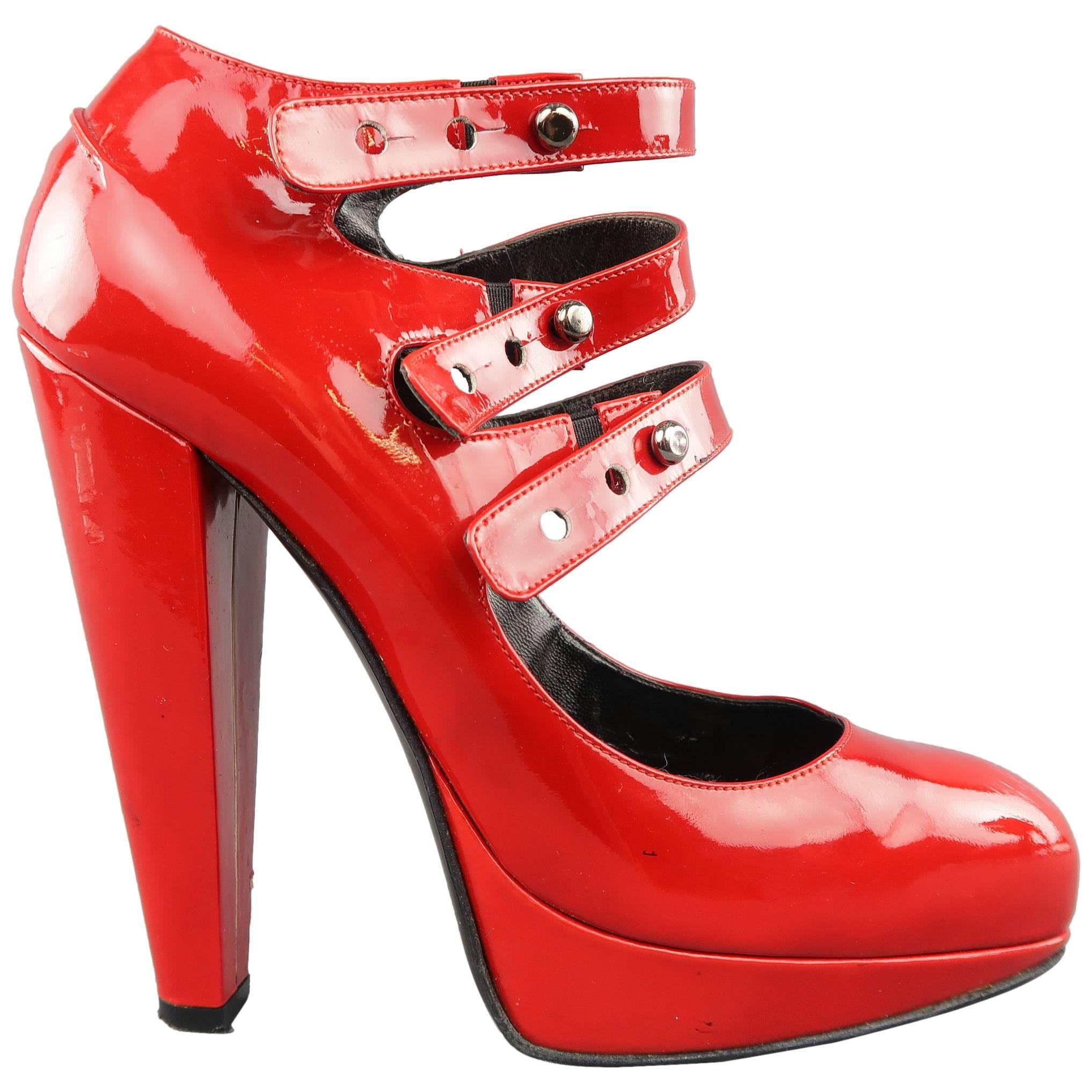 f02bfdc1702 LANVIN Size 6 Red Patnet Leather Multi Mary Jane Strap Platform Pumps For  Sale at 1stdibs