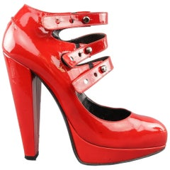 LANVIN Size 6 Red Patnet Leather Multi Mary Jane Strap Platform Pumps