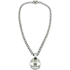 Chanel Vintage 1997 Silver Toned Turn-Lock Pendant Necklace