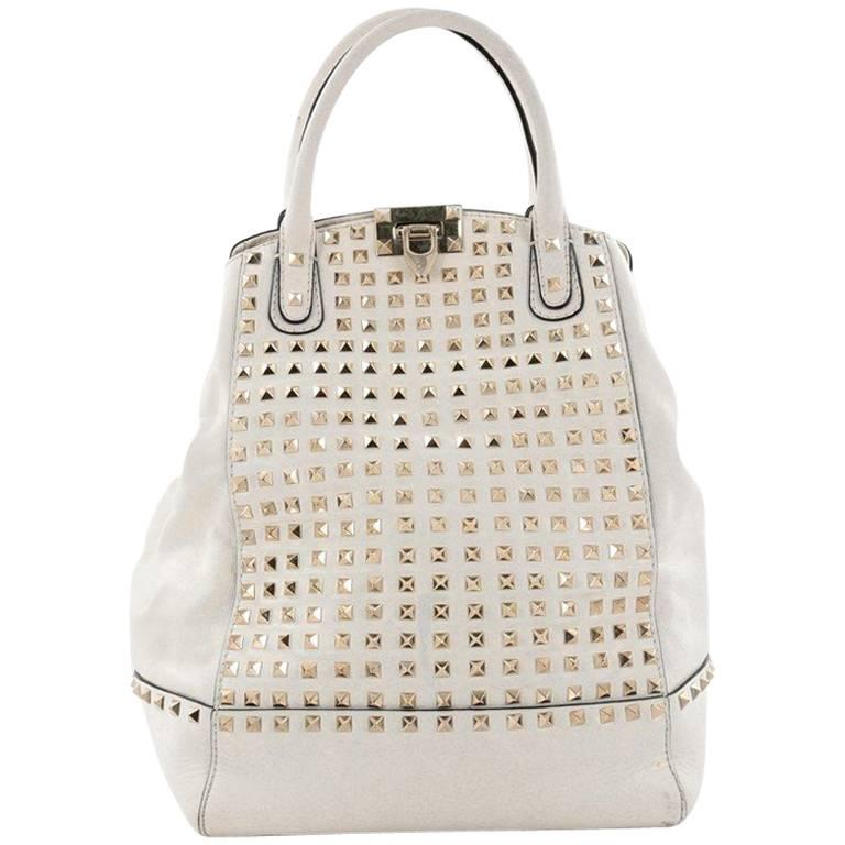 Valentino Rockstud New Dome Convertible Bucket Bag Full Studded Leather