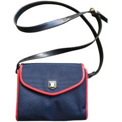 Vintage Celine Navy Nylon and Red Leather Piping Shoulder Bag with Golden Motif