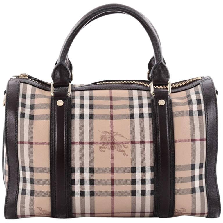 d5a4a781559 Burberry Alchester Bowling Bag Haymarket Coated Canvas and Leather Medium  For Sale