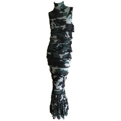 Jean Paul Gaultier Sleeveless Camo Maxi Dress