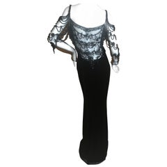 Valentino Vintage Black Velvet Evening Dress with Gorgeous Jet Beading on Net