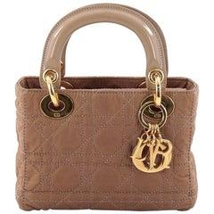 Christian Dior Lady Dior Handbag Cannage Quilt Nylon Mini