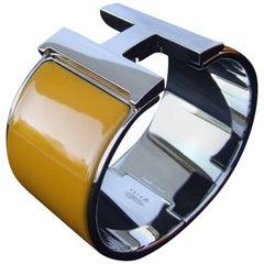 Hermes Clic Clac H Bracelet Cuff Enamel Safran Yellow PHW Extra Wide GM