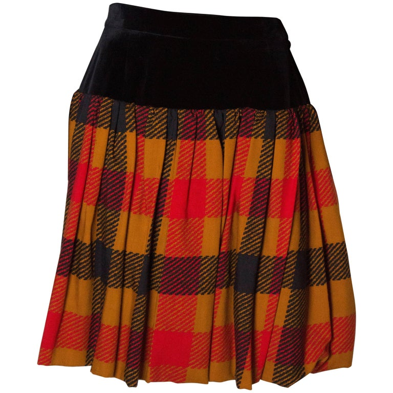 Yves Saint  Laurent Velvet and Wool Skirt