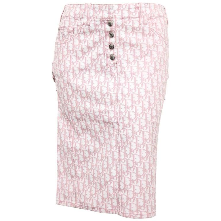 John Galliano for Christian Dior Pink Trotter Logo Pencil Skirt