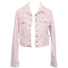 John Galliano for Christian Dior Pink Trotter Logo Denim Jacket