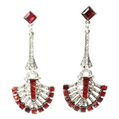 Deco Style Pierced Red and Rhinestone Dangling Earrings