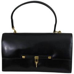 "Vintage Hermes Black Box Leather ""Palonnier"" Bag"