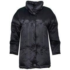 Sanyo Black Silk Puffer Coat Size Small