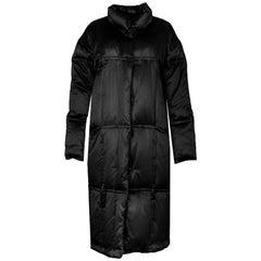 Sanyo Black Silk Long Puffer Coat Size Small