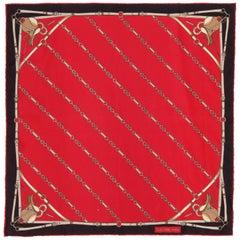 CELINE Red and Black Equestrian Horsebit Print Silk Scarf