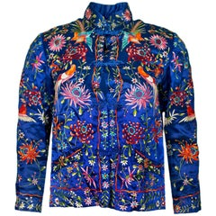 Plum Blossoms Embroidered Blue Silk Jacket Size FR32