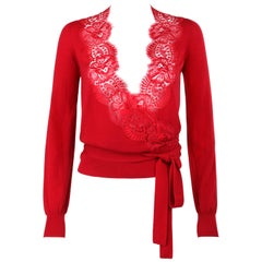 DOLCE & GABBANA Red Knit Scalloped Floral Lace Wrap Cardigan Sweater