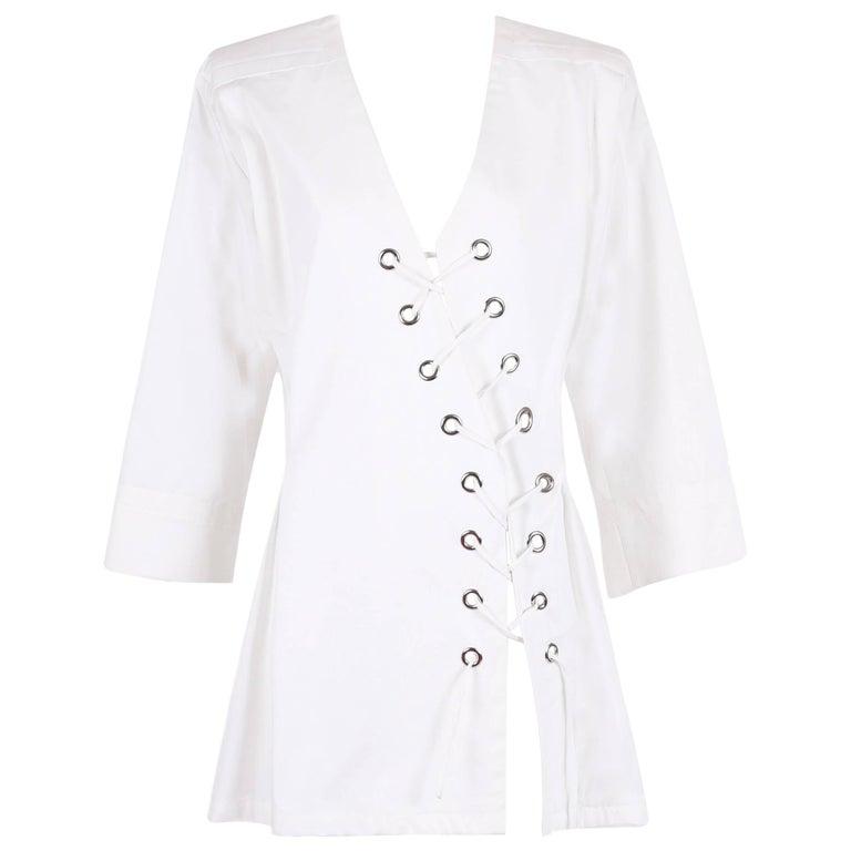 "Yves Saint Laurent YSL White Safari ""Saharienne"" Dress w / Diagonal Lace Up Ties For Sale"