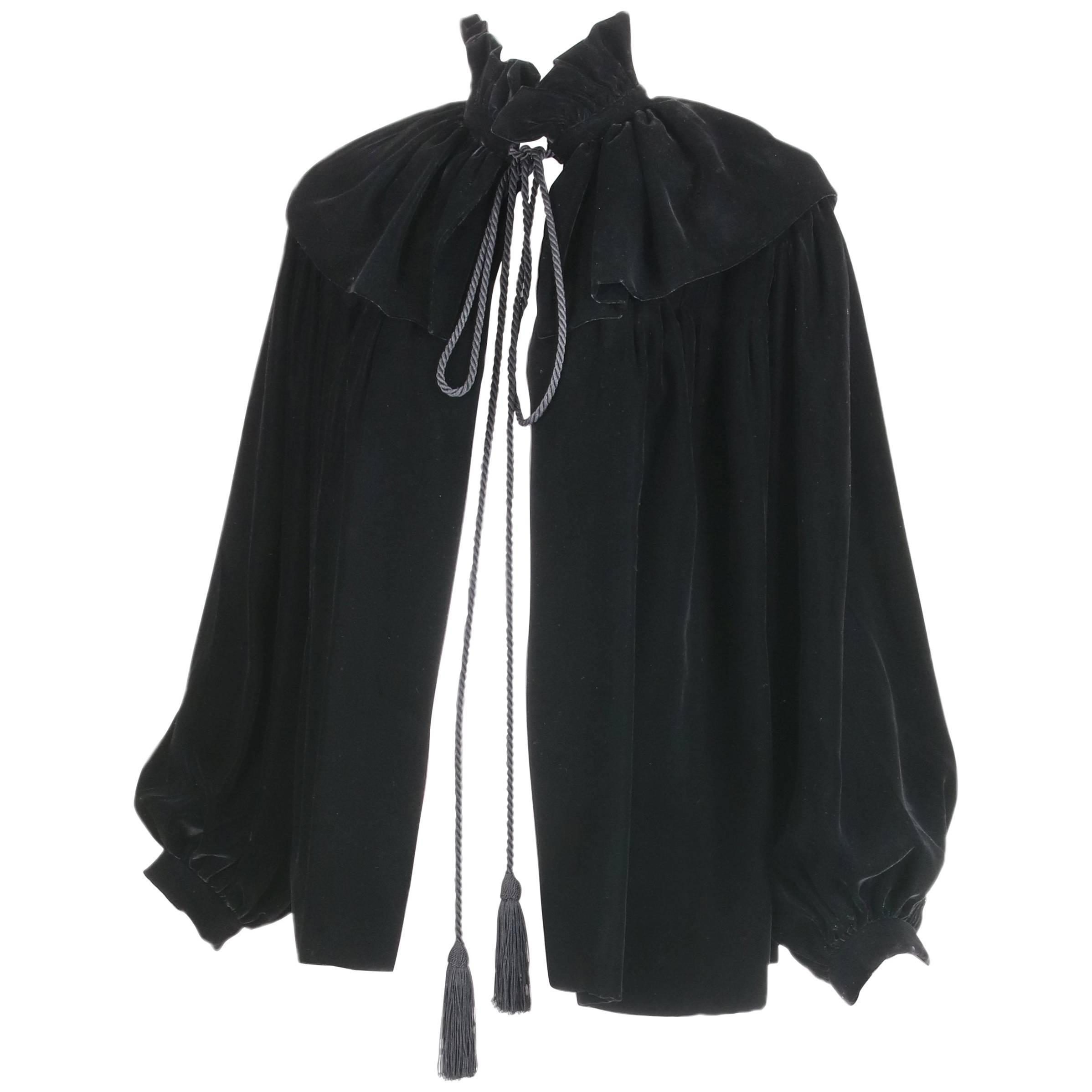 1970's Yves Saint Laurent YSL Black Velvet Russian Collection Jacket w/Silk Ties