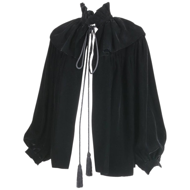 1970's Yves Saint Laurent YSL Black Velvet Russian Collection Jacket w/Silk Ties For Sale