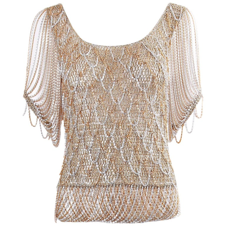 Loris Azzaro Gold and Silver Knit Lurex and Chain Top, 1970s