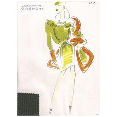 Givenchy Croquis of an Olive Green Dress and Shawl with Attached Fabric Sample