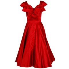 1955 Bill Blass for Anna Miller Red Satin Sculpted Bow Plunge Full-Skirt Dress