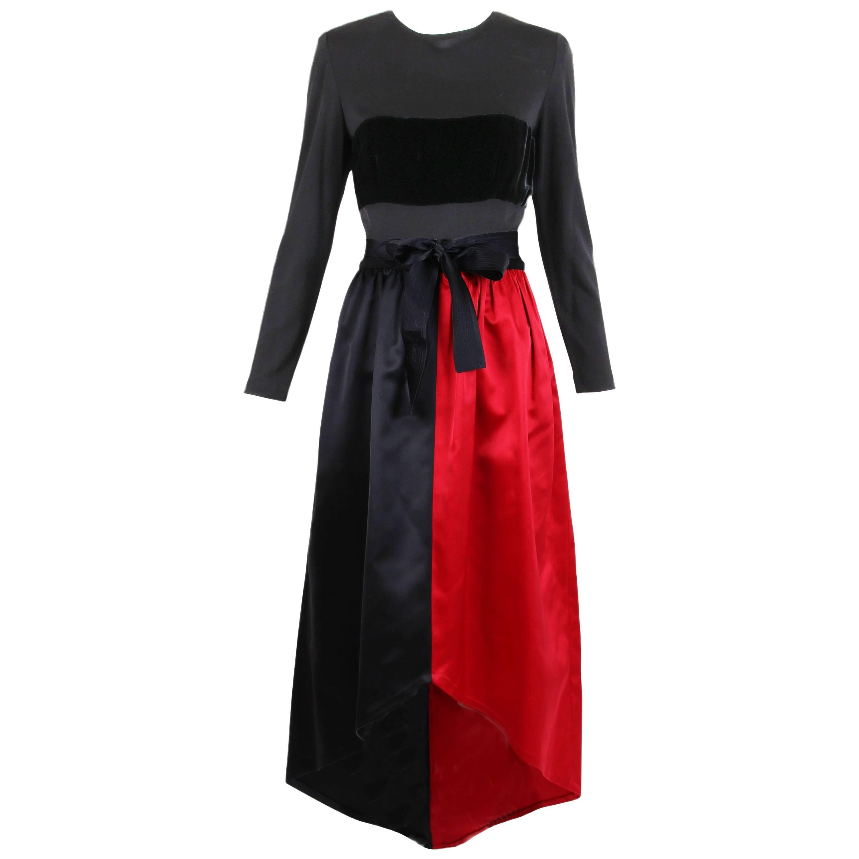 Bill Blass Red & Black Satin Evening Gown w/Illusion Top & Velvet Band
