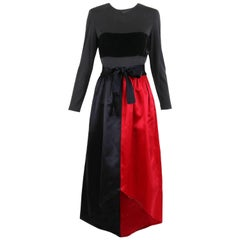 Bill Blass Red & Black Satin Evening Gown w/Illusion Top & Velvet Band