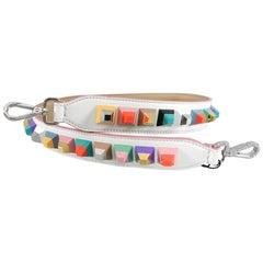 """Fendi White """"Strap You"""" Multicolor Studded Purse Bag Strap"""