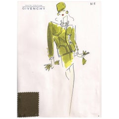 Givenchy Croquis of an Olive Green Suit with Attached Fabric Sample